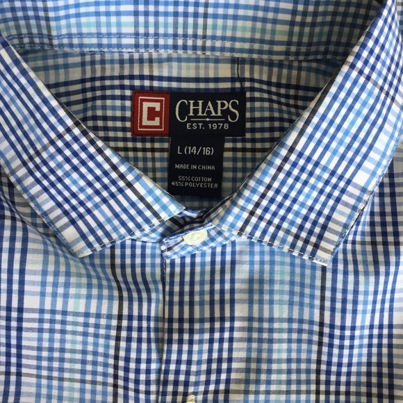 New Chaps Blue Dress Shirt with matching tie Boys size 14
